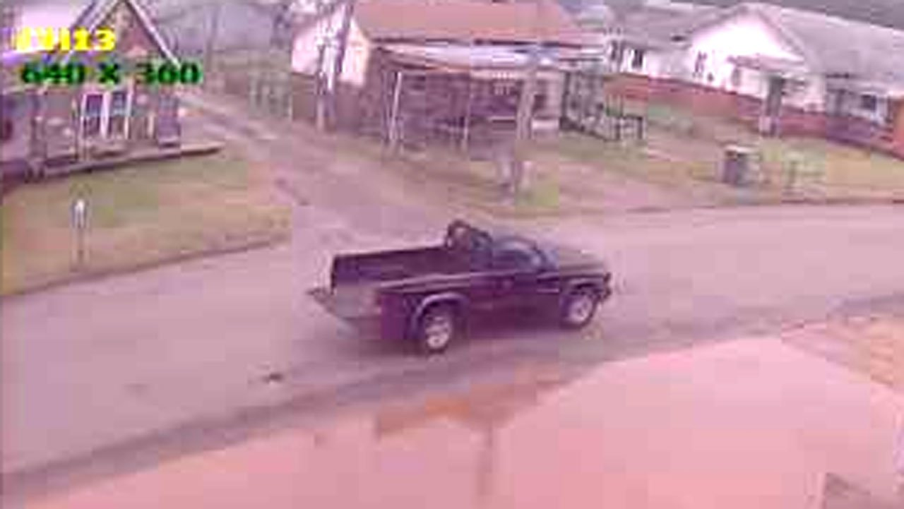 A surveillance photo shows a dark colored pickup truck that may have been used by the Pauls Valley bandit. (FBI)