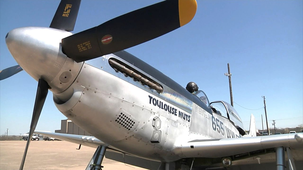A P-51 Mustang fighter plane on display at North Texas Regional Airport. (KTEN)
