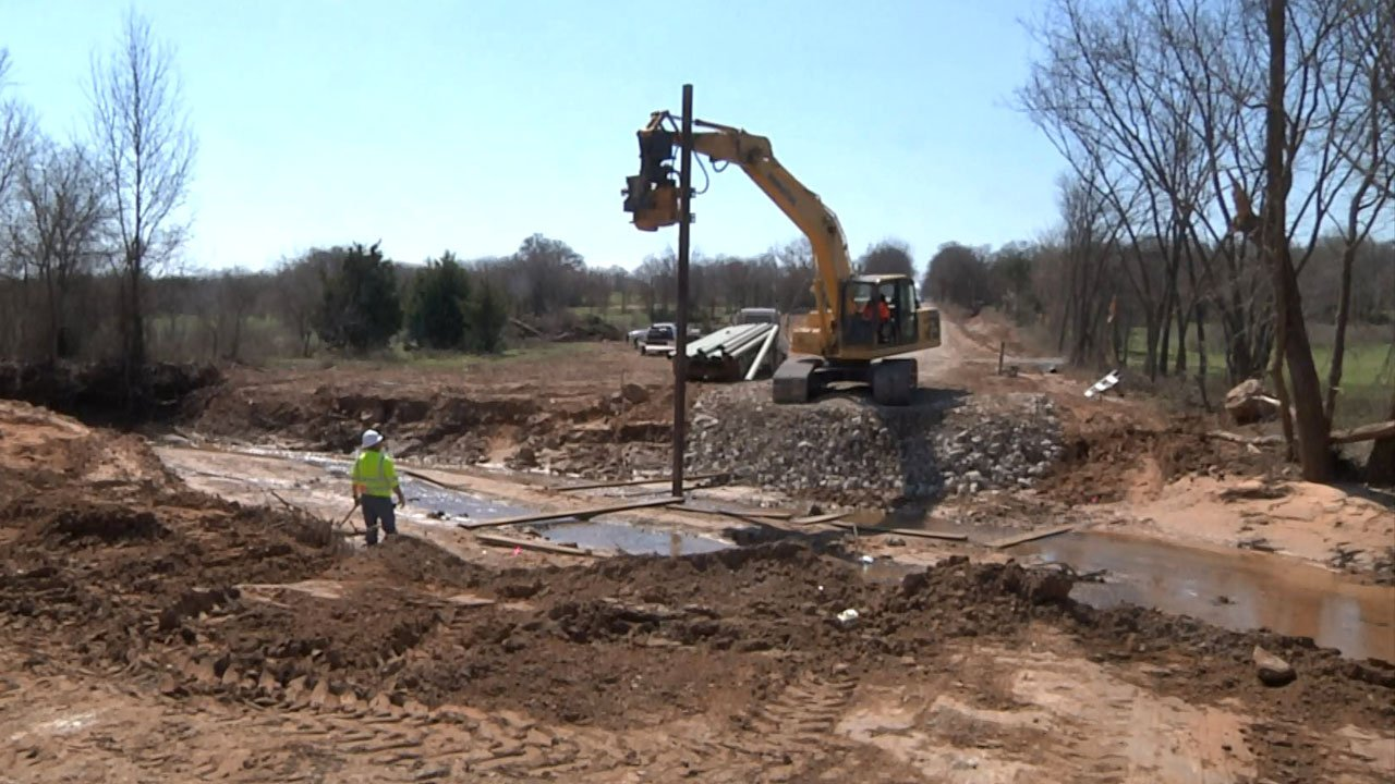 Work is underway to replace an 80-year-old bridge on Dillard Road in Wilson, Oklahoma. (KTEN)