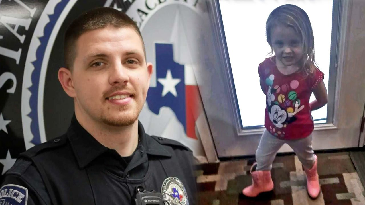 Sherman police Officer Ryan Shepard found Madeline Peckman a pair of pink boots to replace the ones that were stolen. (KTEN)