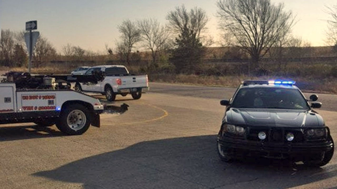 One person was killed in a two-vehicle accident on US 69 in Stringtown, Oklahoma on March 25, 2019. (OHP Trooper Scott Hampton/Twitter)