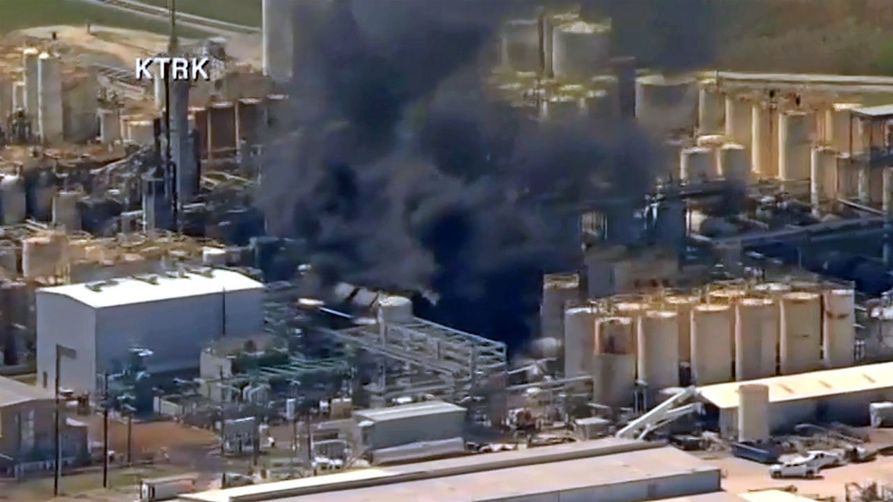 Fire erupted at a chemical plant in Crosby, Texas, on April 2, 2019. (KRTK via CNN)