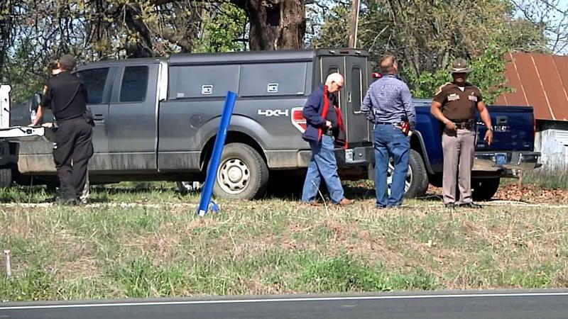 Law enforcement investigates a shooting near Kingston on April 2, 2019. (KTEN)