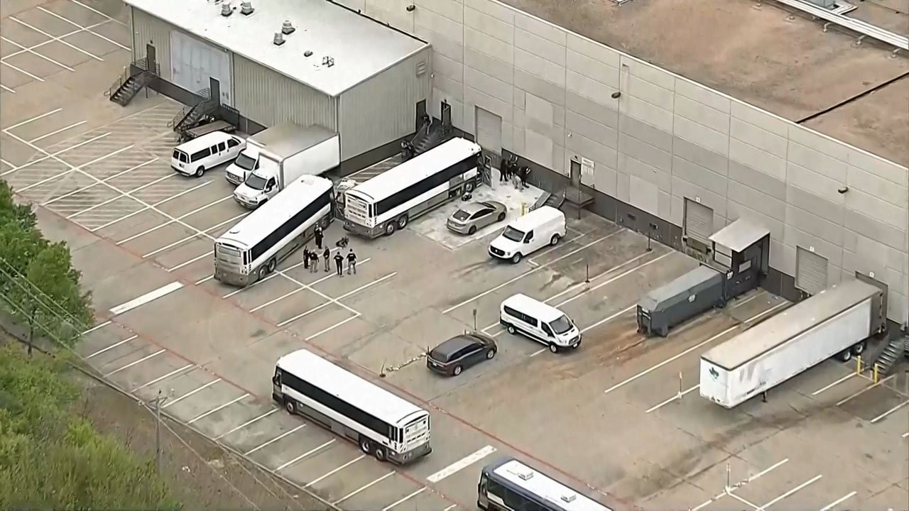 ICE agents arrested nearly 300 workers at CVE Technology Group in Allen, Texas, on April 3, 2019. (KXAS)