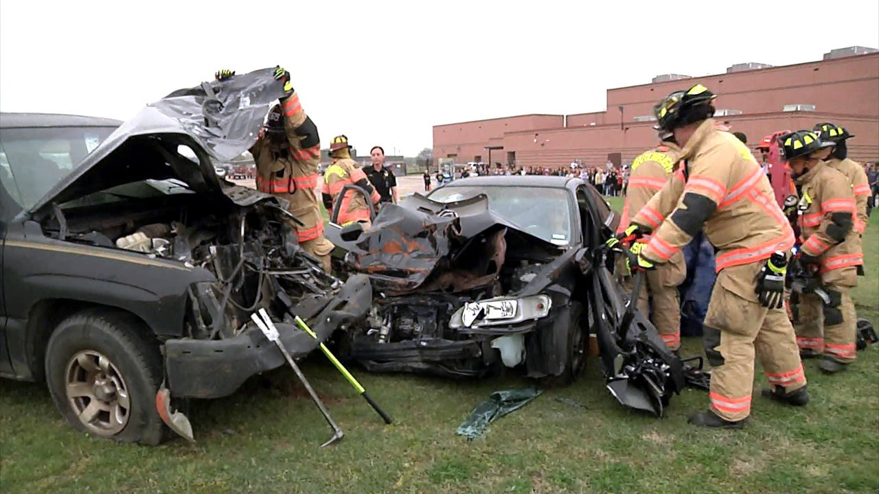 The Shattered Dreams assembly featured a realistic car crash scene outside Wihitewright High School. (KTEN)