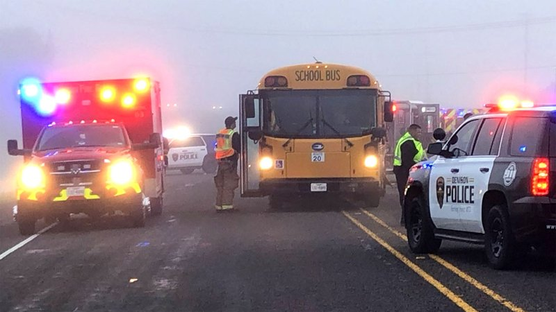 A car crashed into a Denison ISD school bus on State Highway 91 on April 5, 2019. (KTEN)
