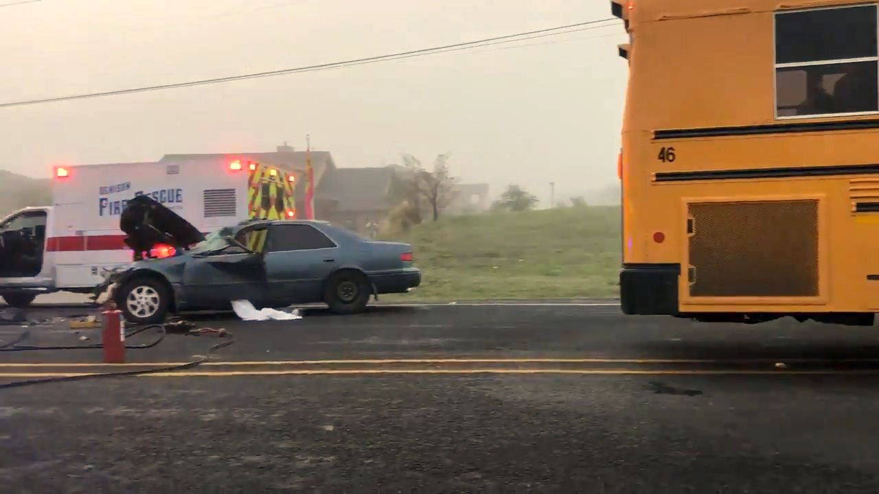 Two adults and two children in a car that crashed into a Denison ISD school bus were injured. (KTEN)