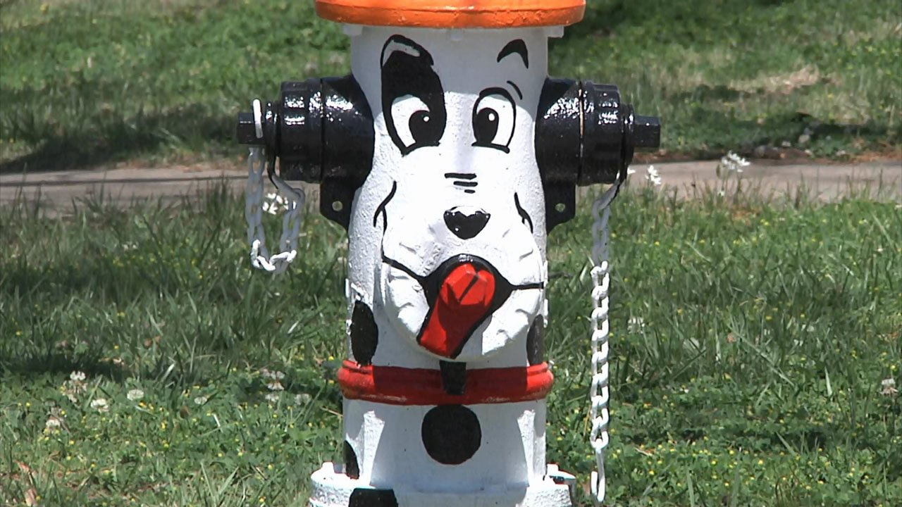 Artists with Create Ardmore transformed this fire hydrant into a whimsical Dalmatian. (KTEN)