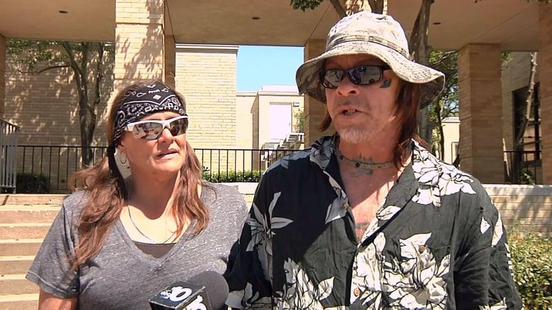 Lawrence McMahan, right, is homeless in Denison. (KTEN)