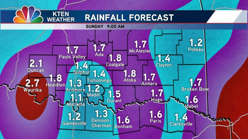 Widespread rain across Texoma was forecast for Saturday, April 13, 2019. (KTEN)