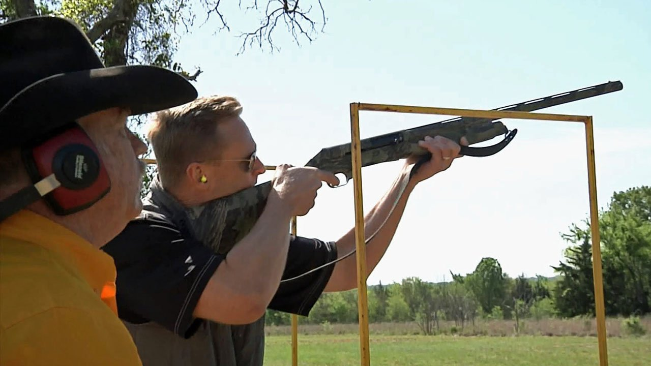 A participant at the 12th annual Denison Chamber of Commerce Clay Shoot on April 12, 2019. (KTEN)