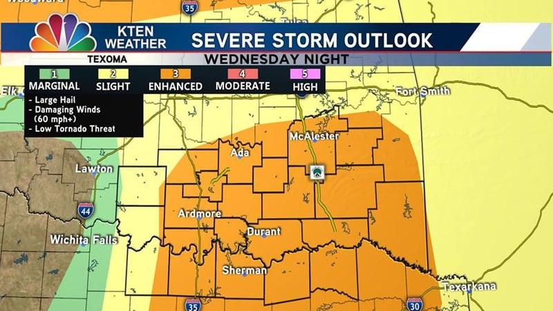 The severe storm outlook for Wednesday, April 17, 2019. (KTEN)