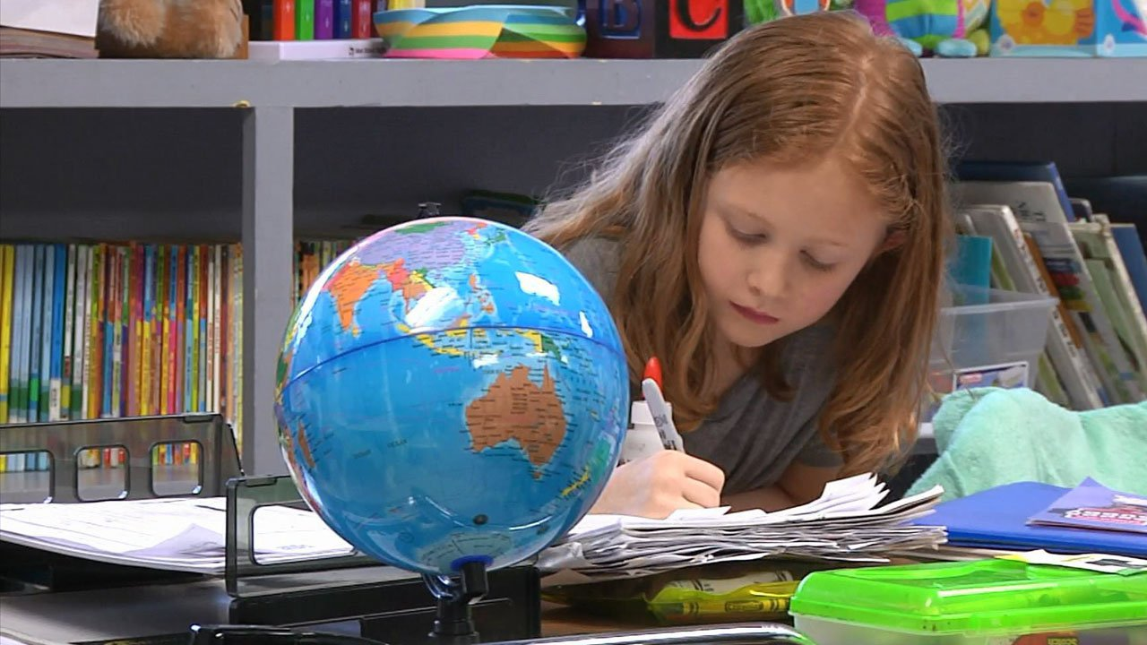 A Denison elementary school student at work. (KTEN)