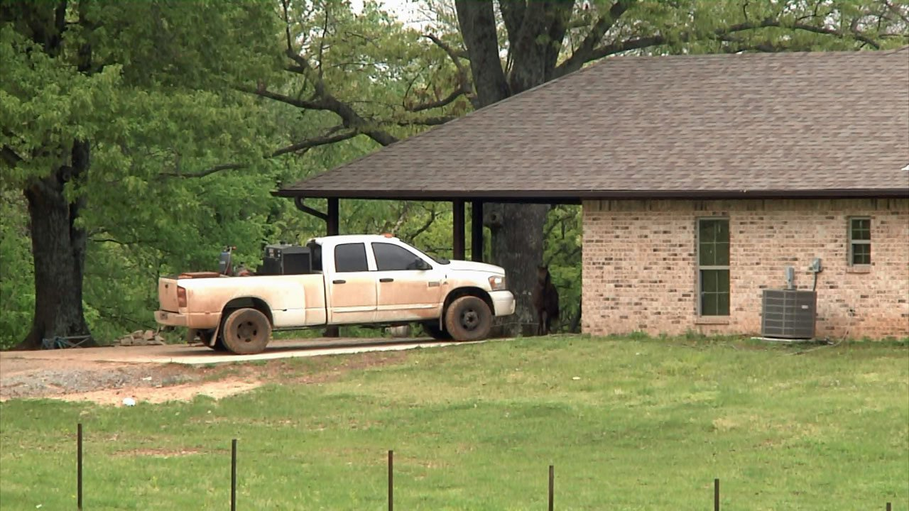 A man was shot and killed at this Atoka County residence on April 14, 2019. His wife told investigators she pulled the trigger. (KTEN)