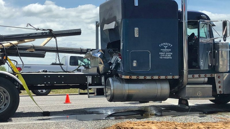 A load of rebar smashed through the back of the cab of this truck on US 69/75 in Calera on April 18, 2019. (KTEN)
