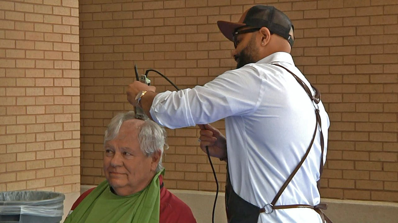 People had their heads shaved to support the St. Baldrick's event at Austin College. (KTEN)