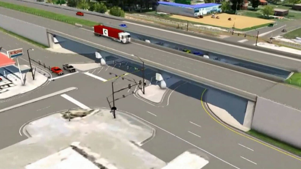 An artist's conception of the proposed US 69/75 interchange at Main Street in Calera. (ODOT)