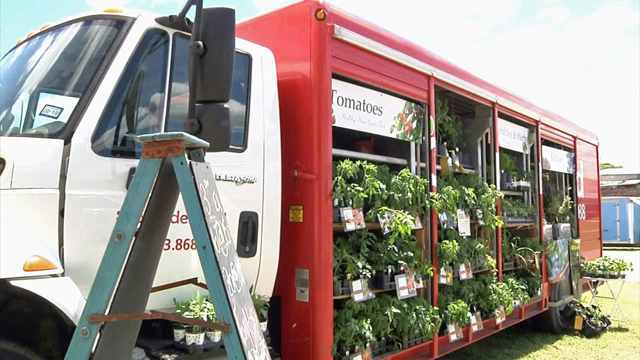 A truck filled with plants at the 2019 Texoma Garden Show in Durant. (KTEN)