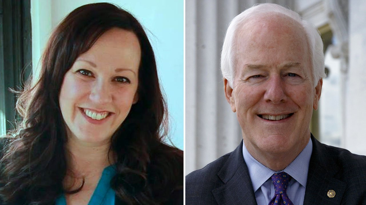 Democrat MJ Hegar, left, said she will challenge incumbent Texas Sen. John Cornyn. (MJ for Texas/Senate.gov)