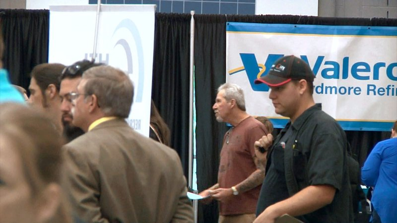 Job-seekers attend a hiring conference in Ardmore. (KTEN)