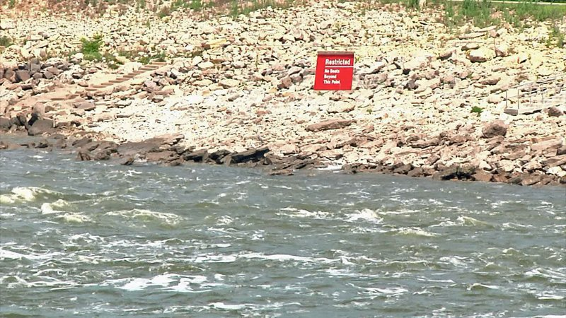 A photo of the dangerous waters near the Denison Dam. (KTEN/File)