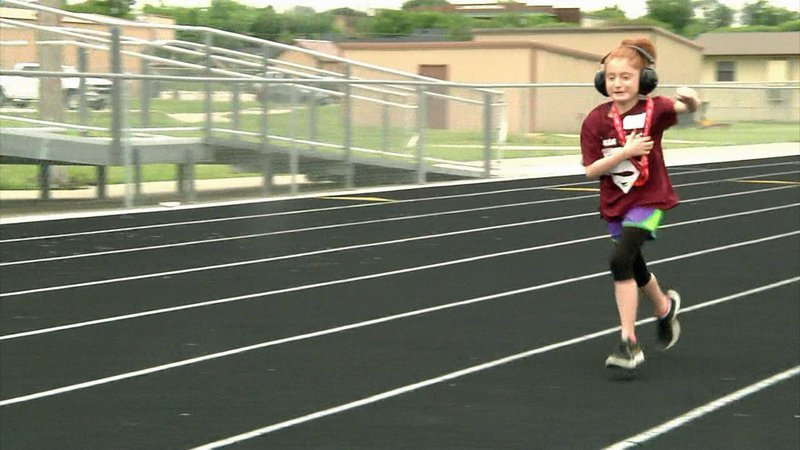 Lanie Lowry competes in a Special Olympics event in Gunter, Texas. (KTEN)