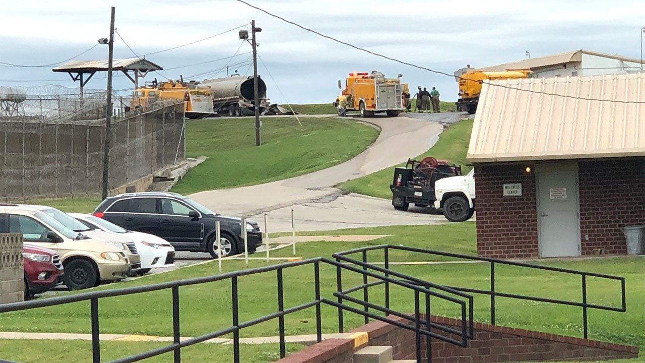 Emergency vehicles at the Mack Alford Correctional Center in Stringtown, Oklahoma. (KTEN)