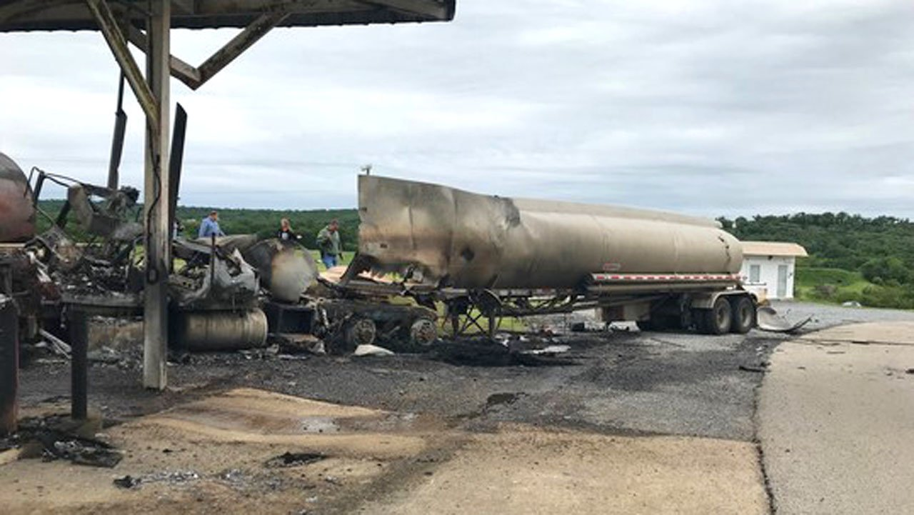 A tanker hauling gasoline exploded at the Mack Alford Correctional Center in Stringtown on May 10, 2019. (Courtesy ODOC)
