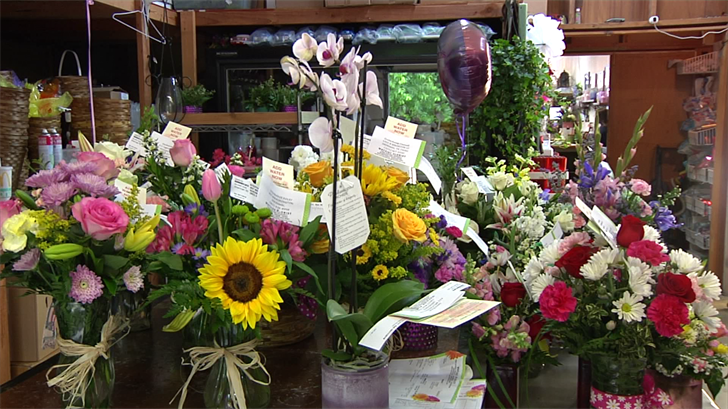 Colorful floral arrangements were being prepared Saturday at Wayside Florist in Sherman to send out to mom's in Texoma