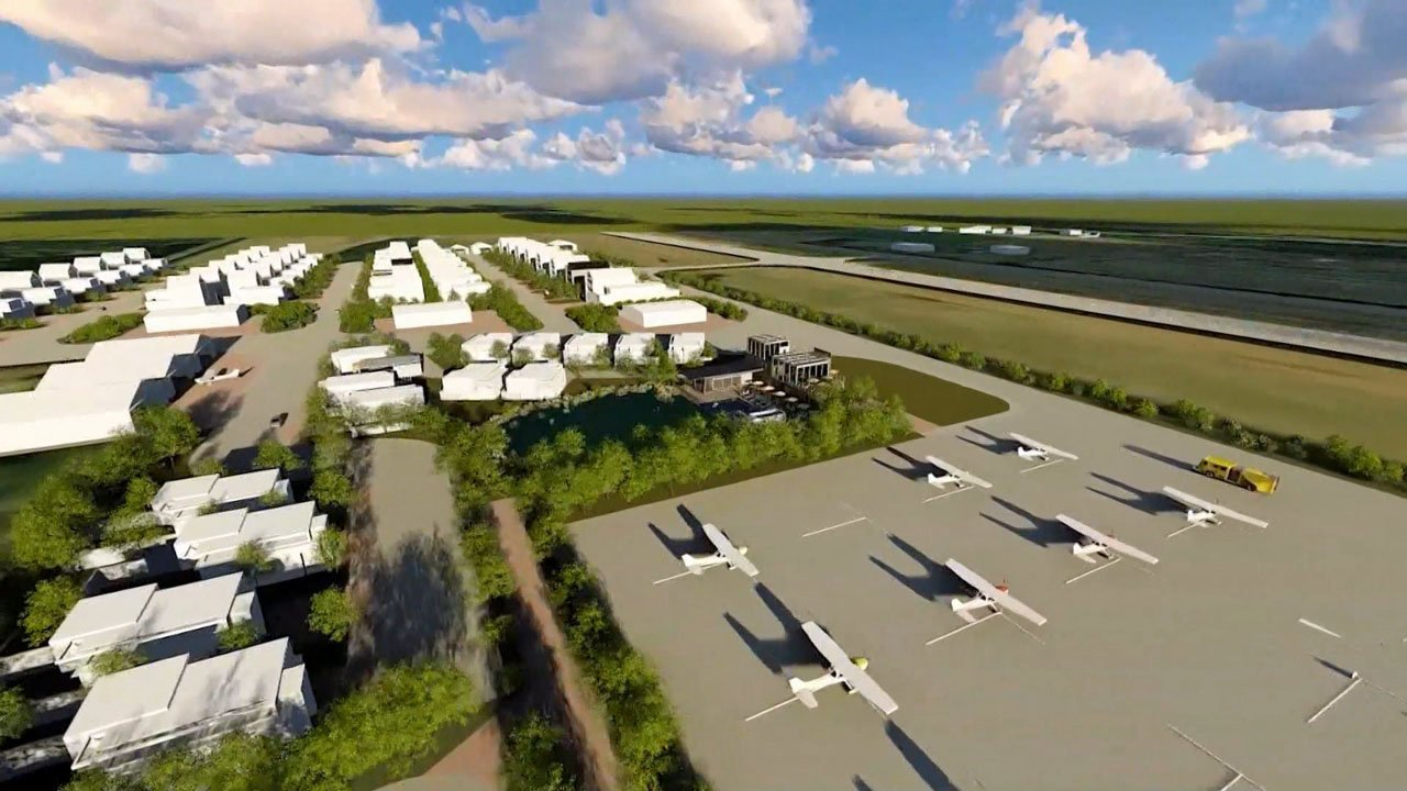"""An artist's conception of the proposed """"fly-in"""" community in Sherman. (Courtesy)"""