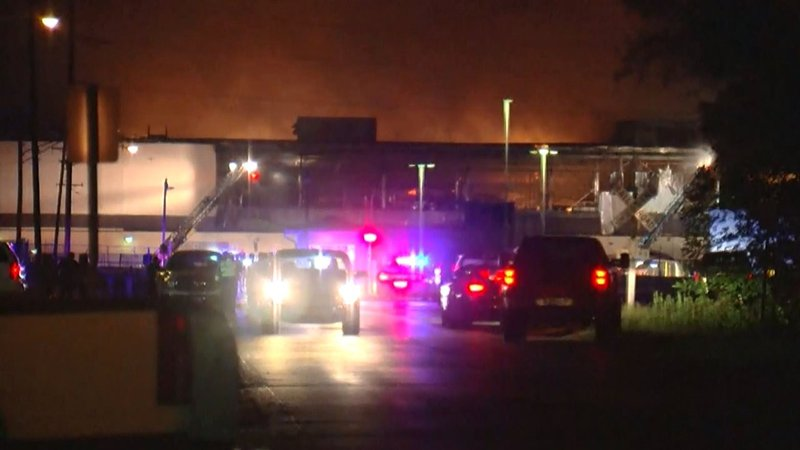 The fire at a Muskogee, Oklahoma, paper plant was started by an exploding forklift. (KJRH via CNN)