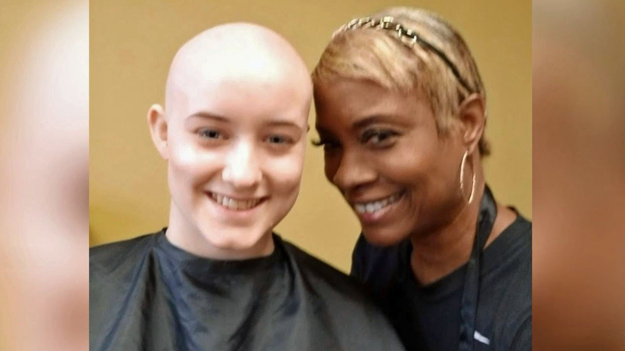 Cancer patient Katelyn Leshuk, with Lisa Perry, who designed her new wig. (Courtesy)