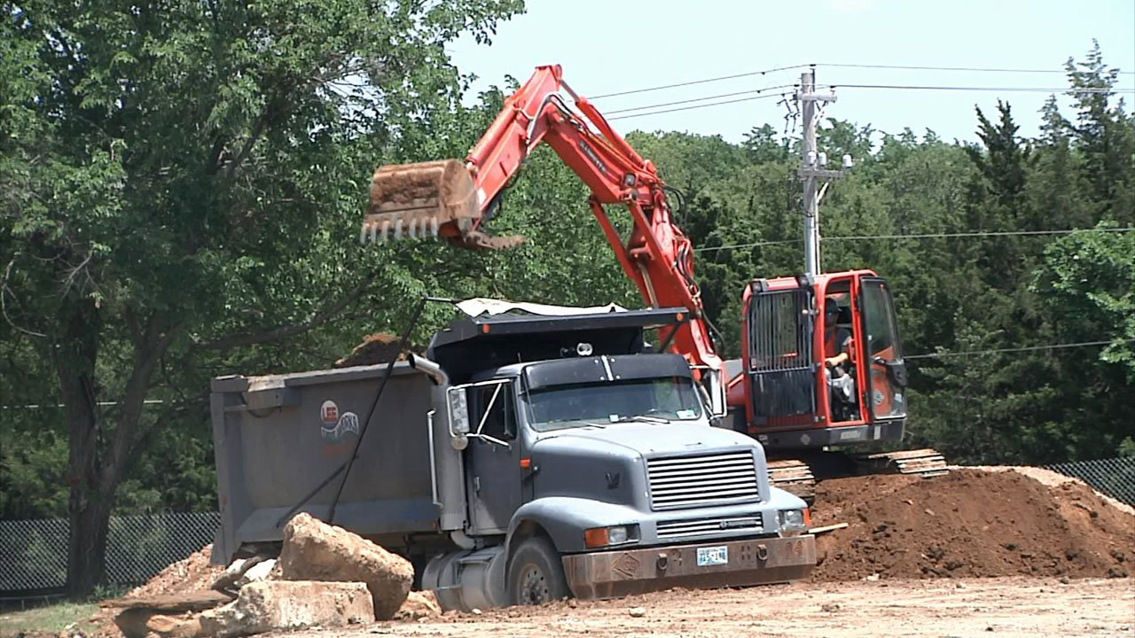 Work is underway at The Clubhouse project at Ardmore Regional Park. (KTEN)