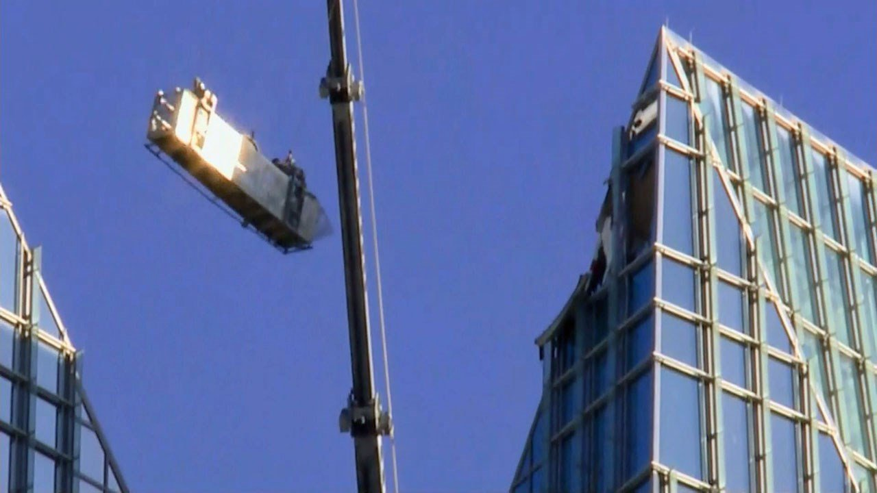 Two window washers were rescued from an Oklahoma City tower. (KFOR via CNN)
