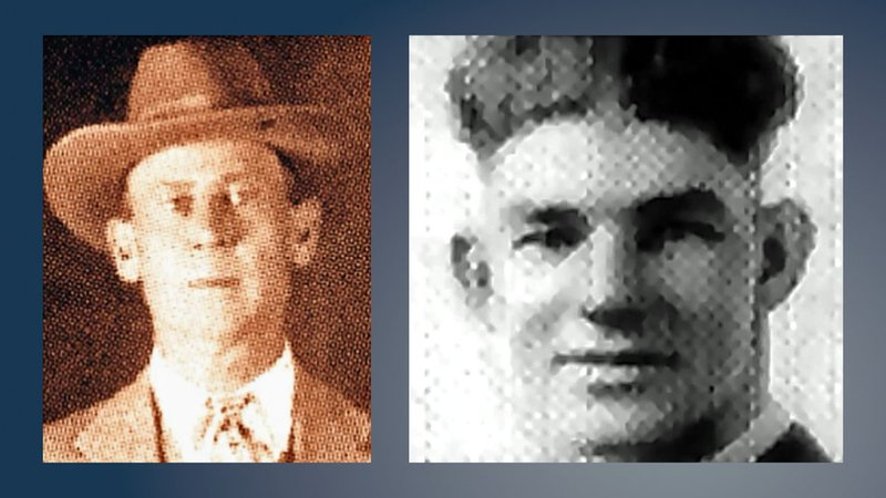 Atoka County Sheriff C.G. Maxwell (left) was injured and Deputy Eugene Moore was killed in a 1932 shootout with Clyde Barrow and his gang in Stringtown, Oklahoma. (File)