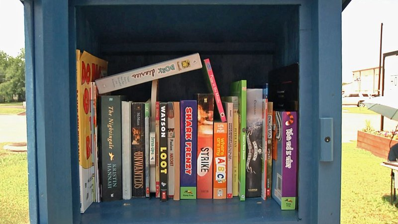 The Little Free Library in Gunter is open around the clock. (KTEN)