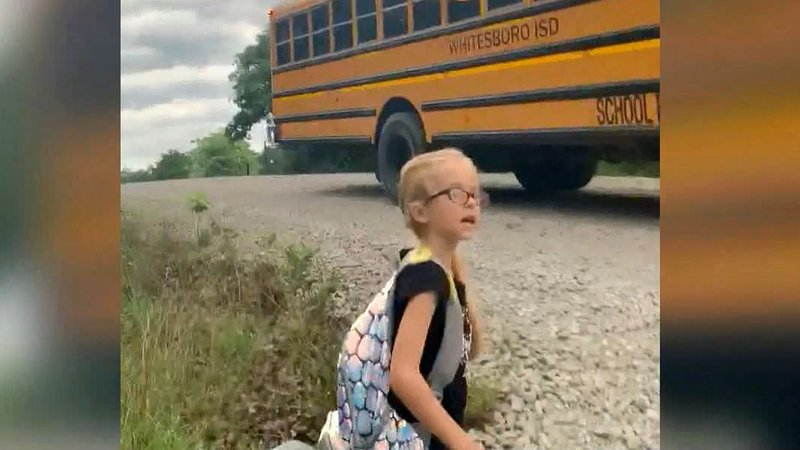 Hannah's school bus started moving before she could sit down. (Courtesy)