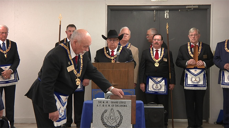 The Masonic Grand Lodge of Oklahoma dedicates a cornerstone monument to the three troopers that died in the Caddo-Kenefic manhunt on May, 26 1978