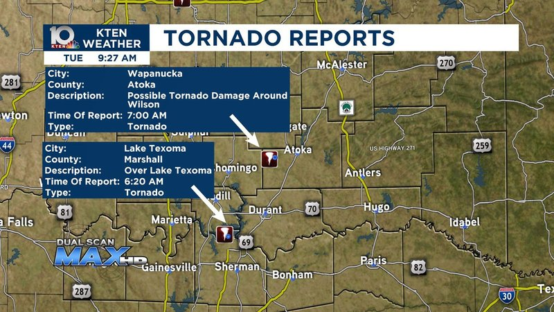 Two tornadoes were reported in Texoma on May 21, 2019. (KTEN)