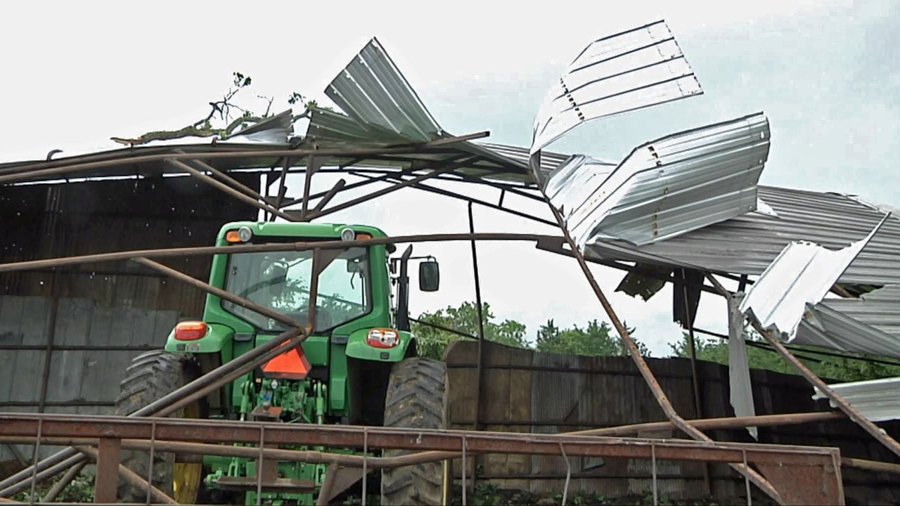A tornado blew the metal roof off this barn near Wilson, Oklahoma, on May 21, 2019. (KTEN)