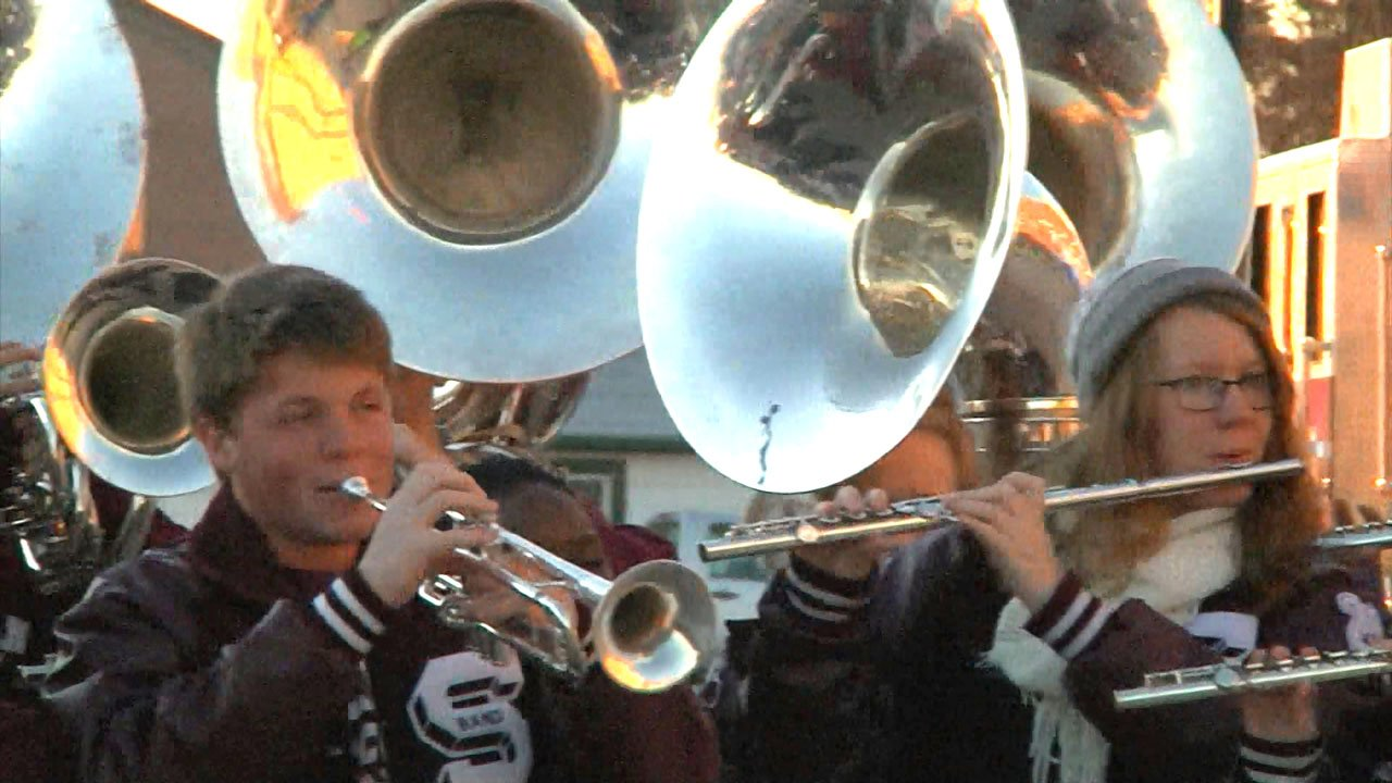 The Sherman High School band plays at a community event. (File/KTEN)