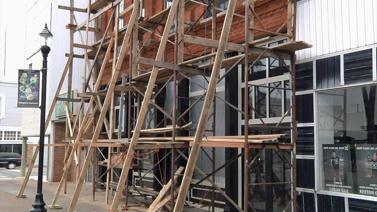 The facade of this downtown Denison building restored. (KTEN)