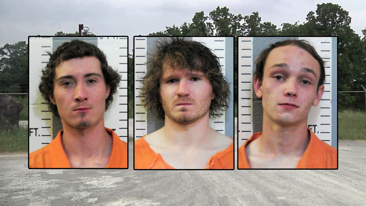 (L-R) Daylen Brantley, Brandon Brantley and Gregory Brown are suspected of stealing oil field equipment. (Carter County Jail/KTEN)