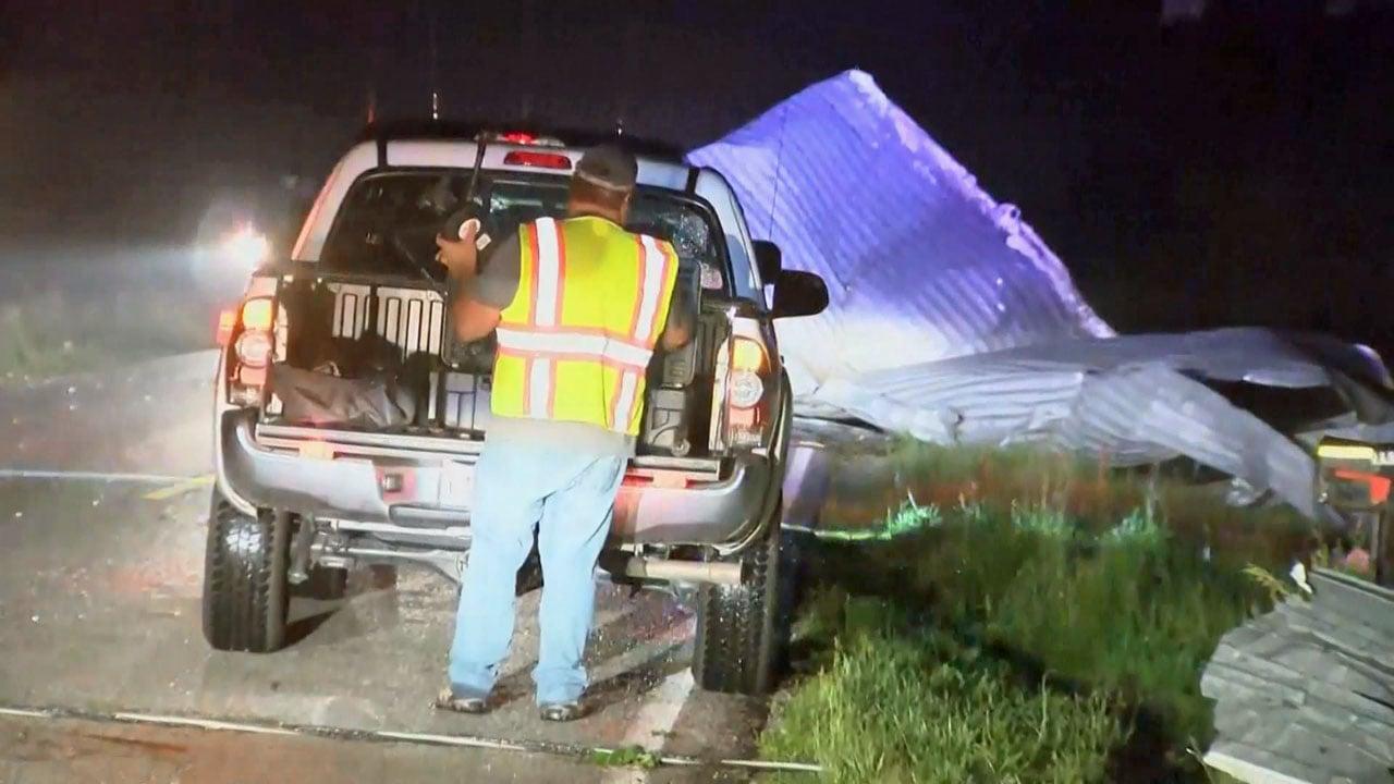 Three people died when a storm struck Golden City, Missouri, on May 22, 2019. (KSNF via NBC News)