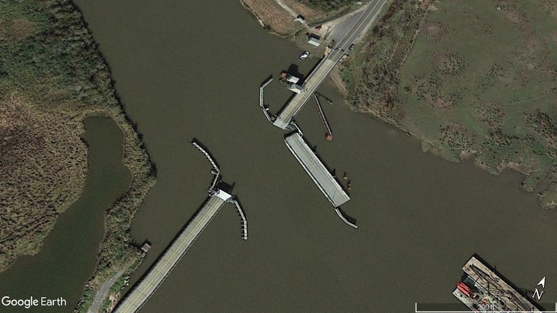 A 2017 Google Earth image of the Black Bayou Bridge near Lake Charles, Louisiana. (File/Google Earth)