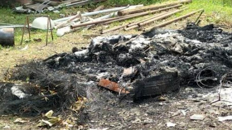 Texoma Volunteer Fire Department personnel extinguished this burning pile of tires and fiberglass on May 28, 2019. (Courtesy)