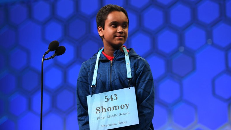 Sherman middle school student Shomoy Kamal spelled all his words correctly at the 2019 Scripps National Spelling Bee. (Mark Bowen/Scripps National Spelling Bee)