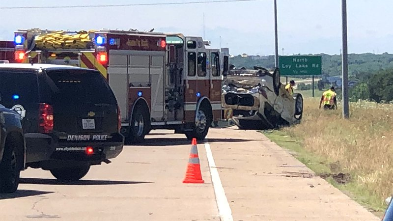 One vehicle rolled in an accident on US 75 in Denison on May 30, 2019. (KTEN)