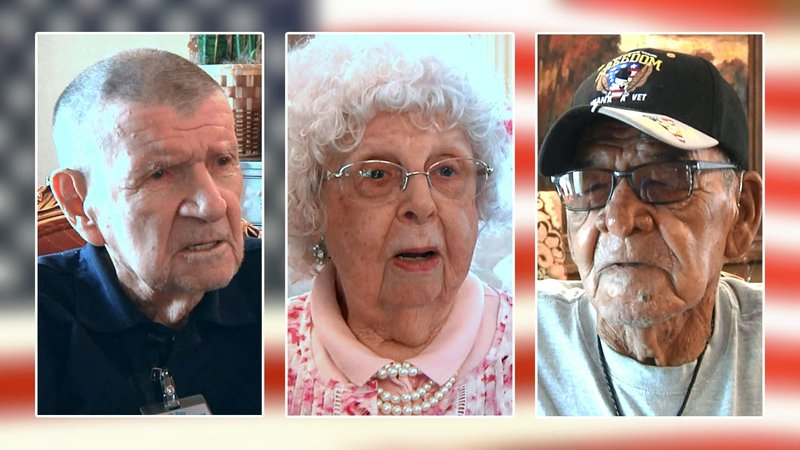 Edwin Ned, Janet Tompkins and L.C. Gardner were honored for their military service. (KTEN)