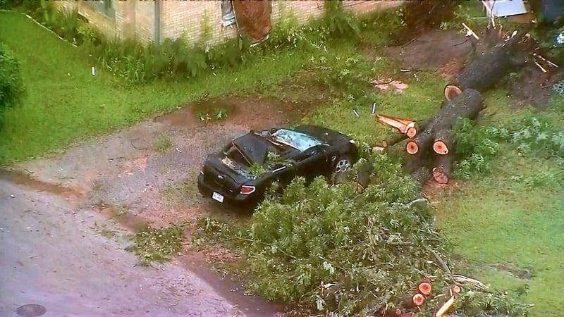 Tornado damage in Canton, Texas. (KXAS via NBC News)